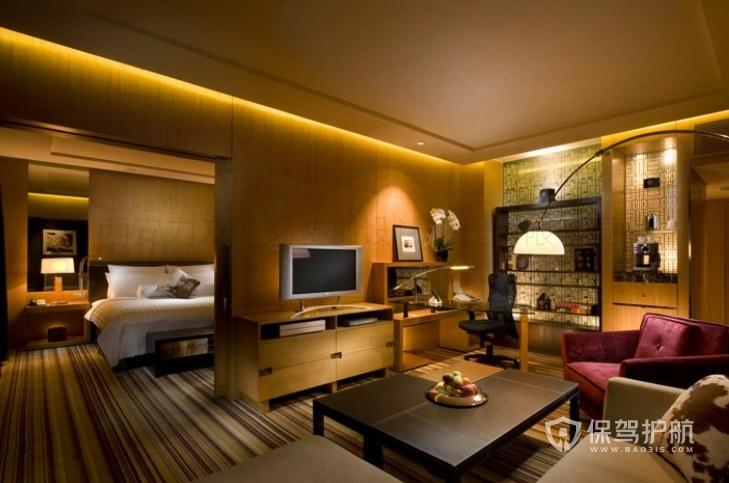 英式复古温馨酒店房间装修效果图