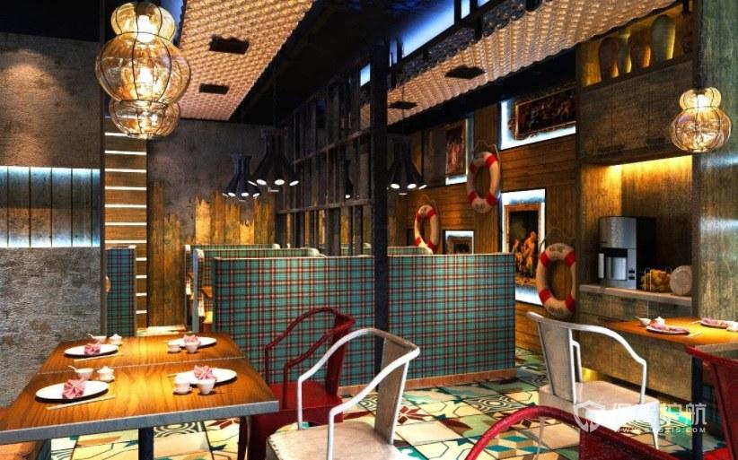 港式风味复古茶餐厅装修效果图