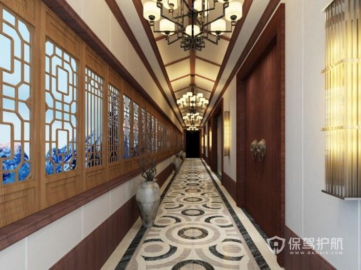中式古典风酒店走廊装修效果图
