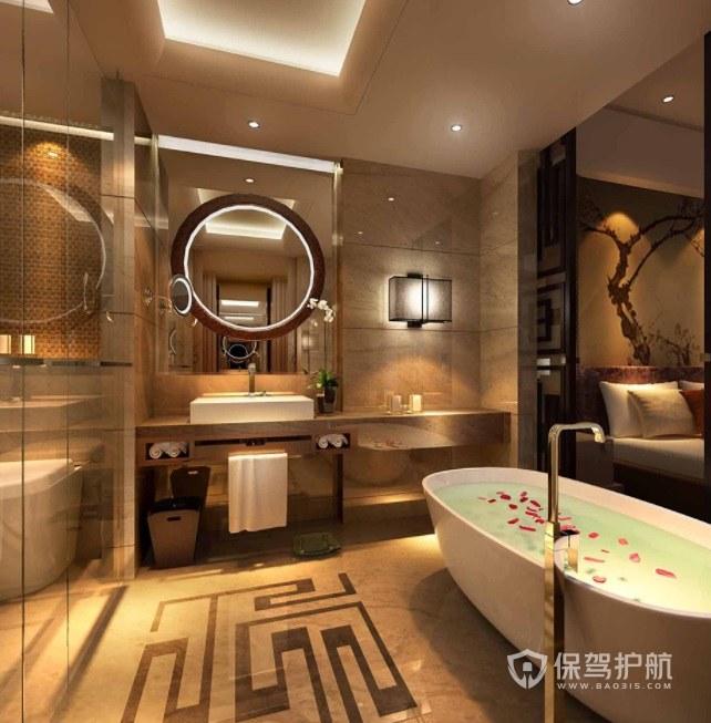 簡歐輕奢風酒店浴室裝修效果圖
