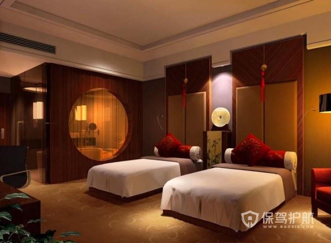 古典中国风酒店双人房装修效果图