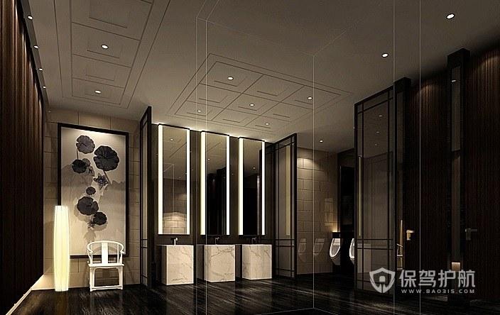 美式复古轻奢风酒店卫生间装修效果图