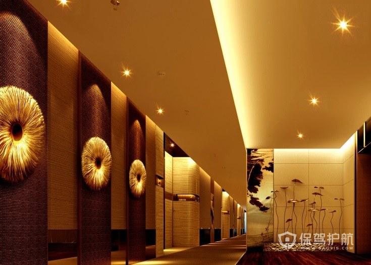 日式豪华复古风酒店走廊装修效果图