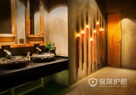 日式复古工业风餐厅卫生间装修效果图