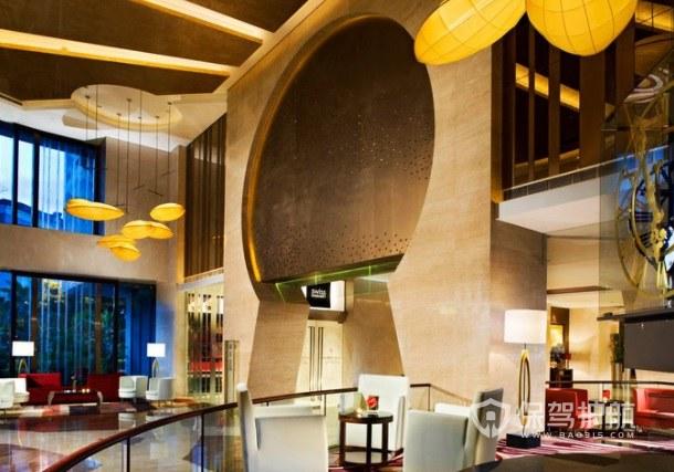 现代创意轻奢风酒店大堂装修效果图