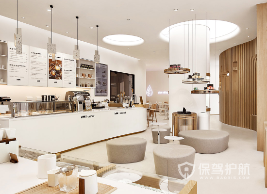 简洁简约风格奶茶店整体设计效果图