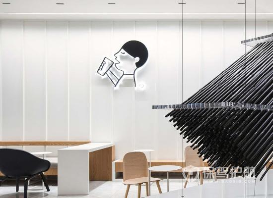 现代风格奶茶店面墙面装修效果图