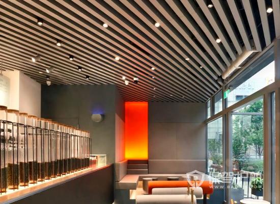 loft风格奶茶店吊顶装修效果图