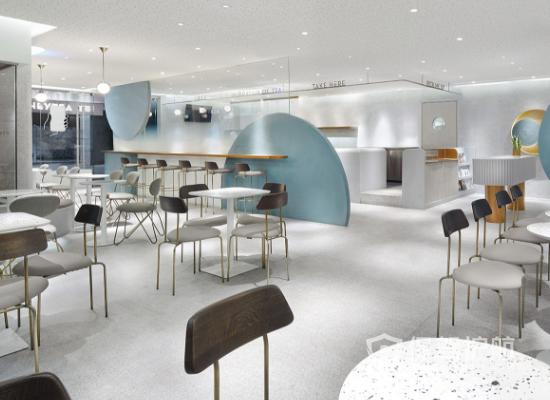 简约现代风格奶茶店整体布局效果图