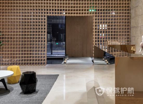日式风格美容机构前台装修效果图