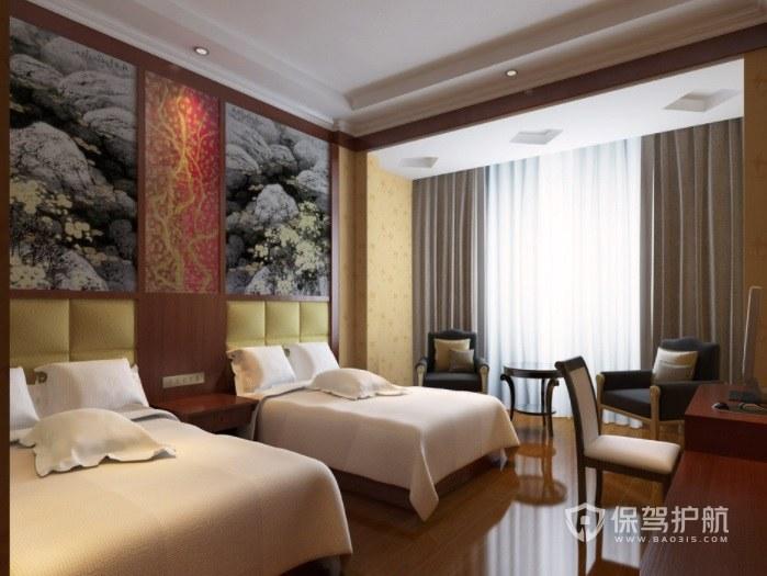 现代中式简约酒店房间装修效果图