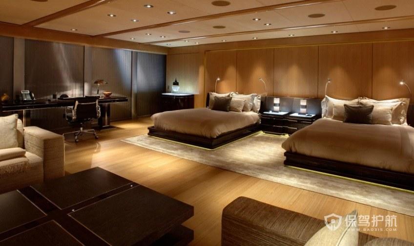 豪華西式酒店大雙人房裝修效果圖