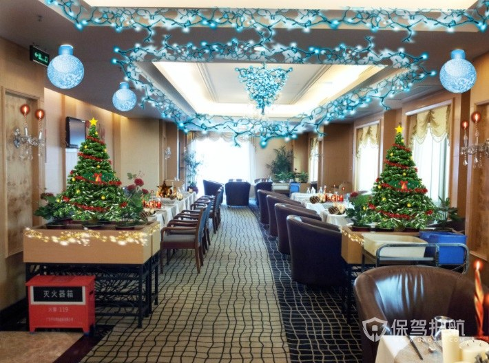 欧式餐厅圣诞节装扮布置效果图