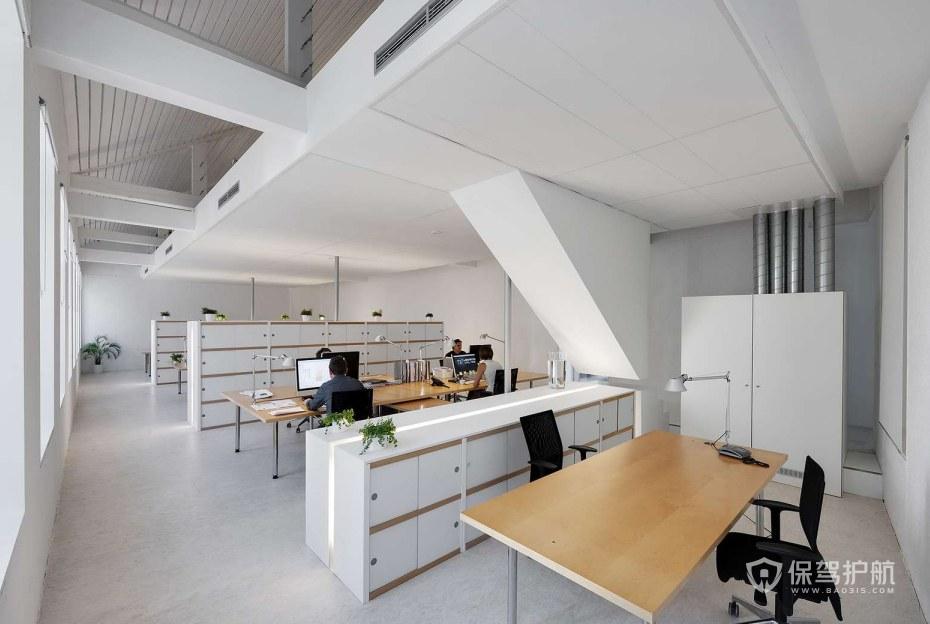 开放式小办公室办公区装修效果图