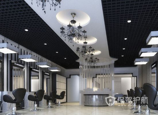 现代风格理发店吊顶装修效果图