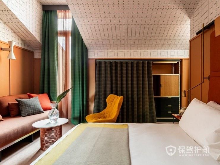 现代简约艺术风酒店房间装修效果图