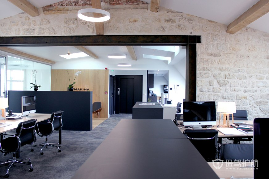 复古风格办公室办公区装修效果图