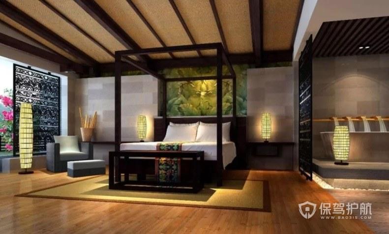 新中式古典风酒店房间装修效果图