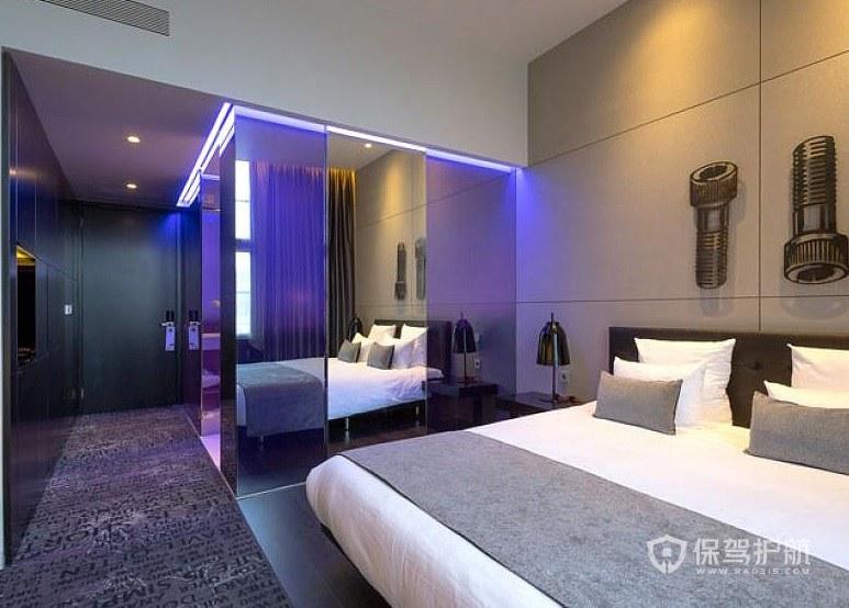 美式时尚简约风酒店房间装修效果图