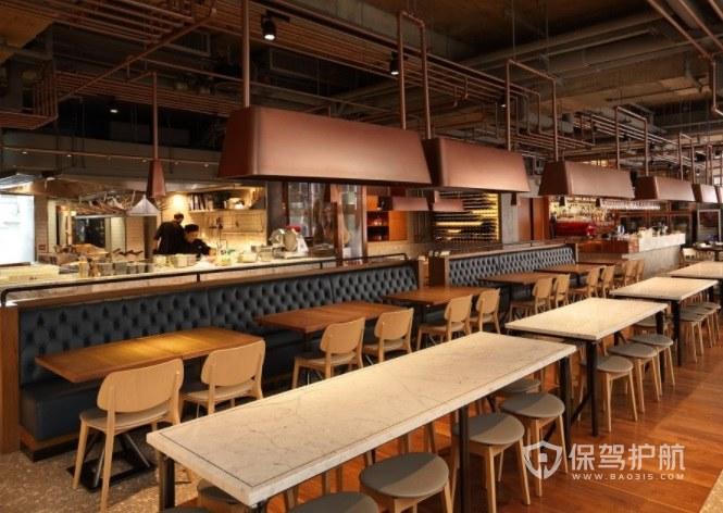 欧式工业复古风西餐厅装修效果图