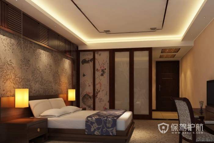 新中式古典風酒店房間裝修效果圖