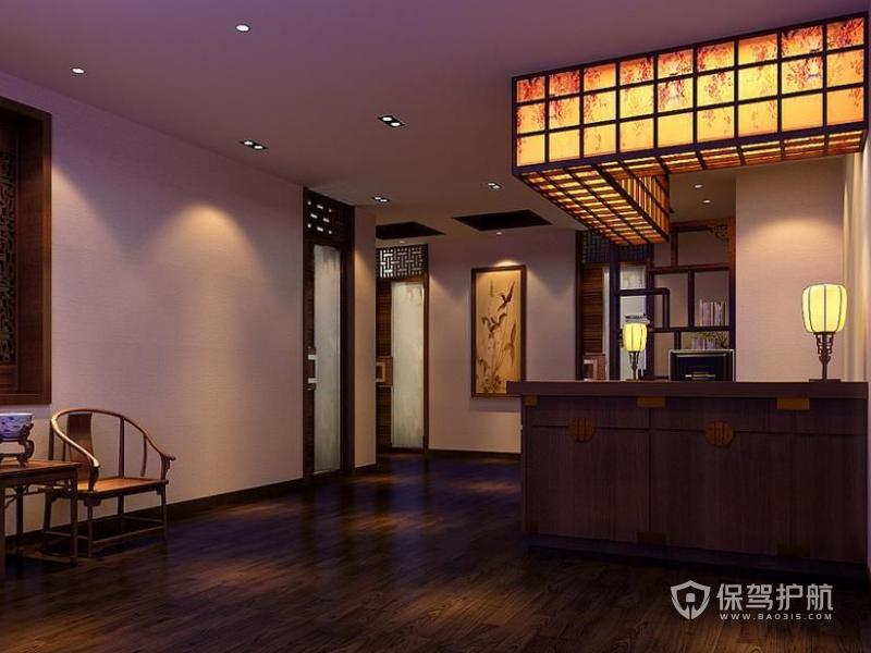 中式办公室前台装修效果图