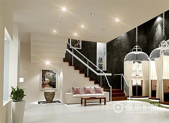 简约风格美甲店楼梯装修效果图