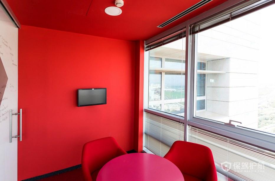 红色办公接待室装修效果图