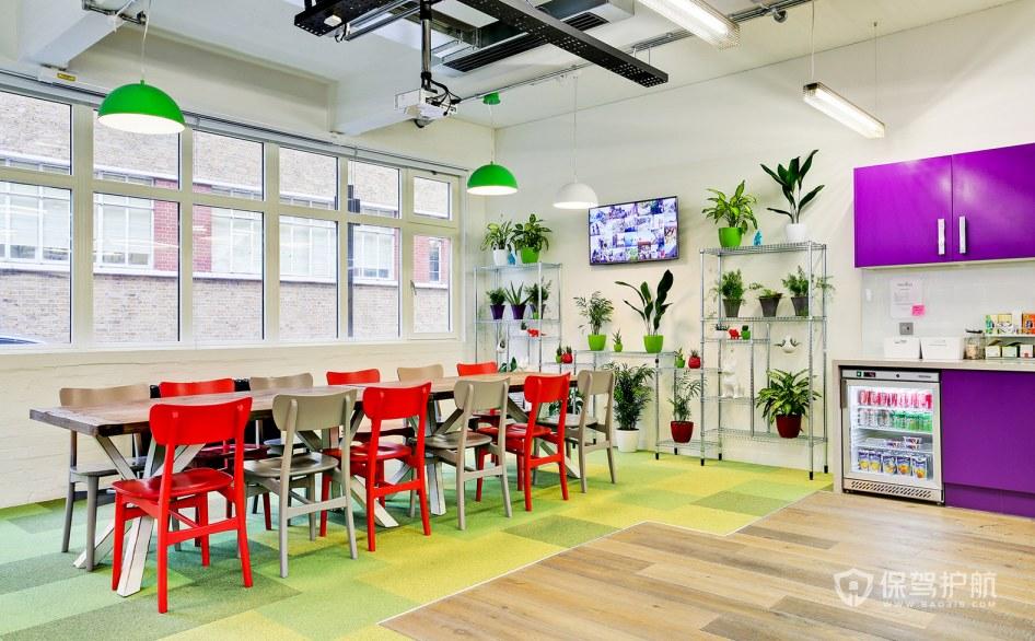 田园风格办公室茶水就餐区装修效果图…