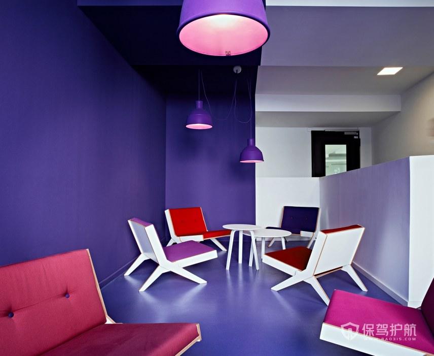 紫色调办公接待室装修效果图
