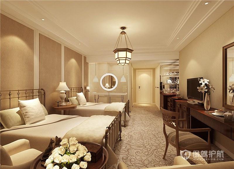 雙人商務歐式酒店客房裝修效果圖-保駕護航裝修網