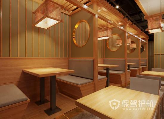 100平米中式风格餐厅卡座装修效果图