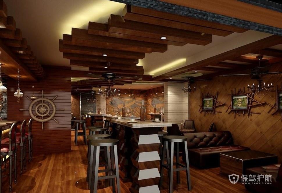 西班牙復古航海風主題酒吧裝修效果圖