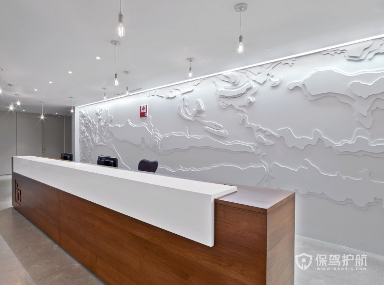 现代科技风格办公室前台装修效果图