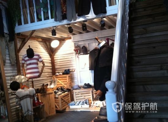 复式复古风服装店楼梯装修效果图