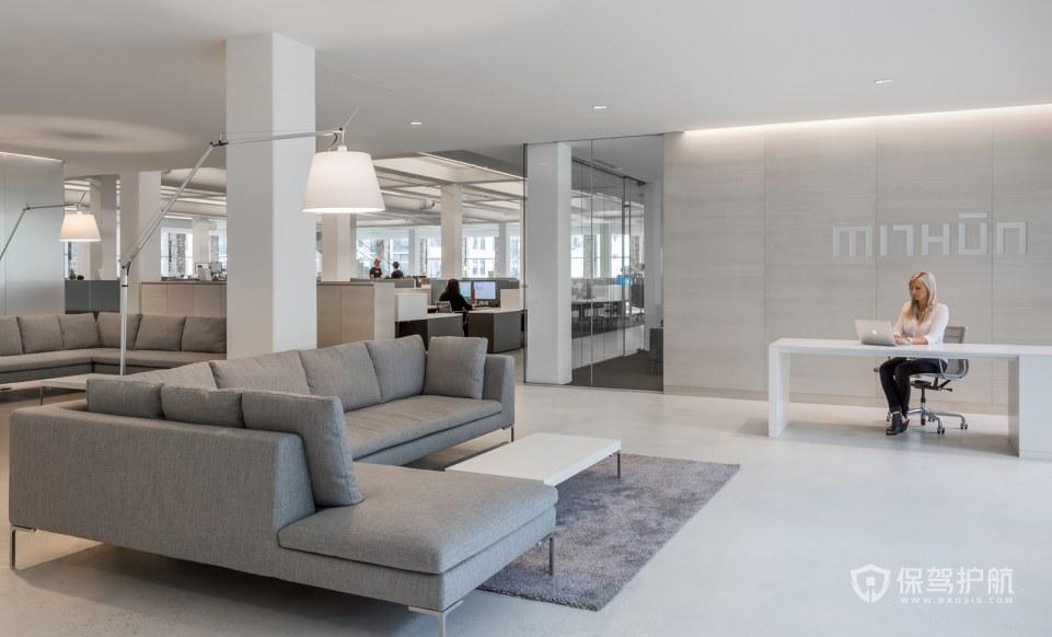 现代风格办公室前台接待区装修效果图