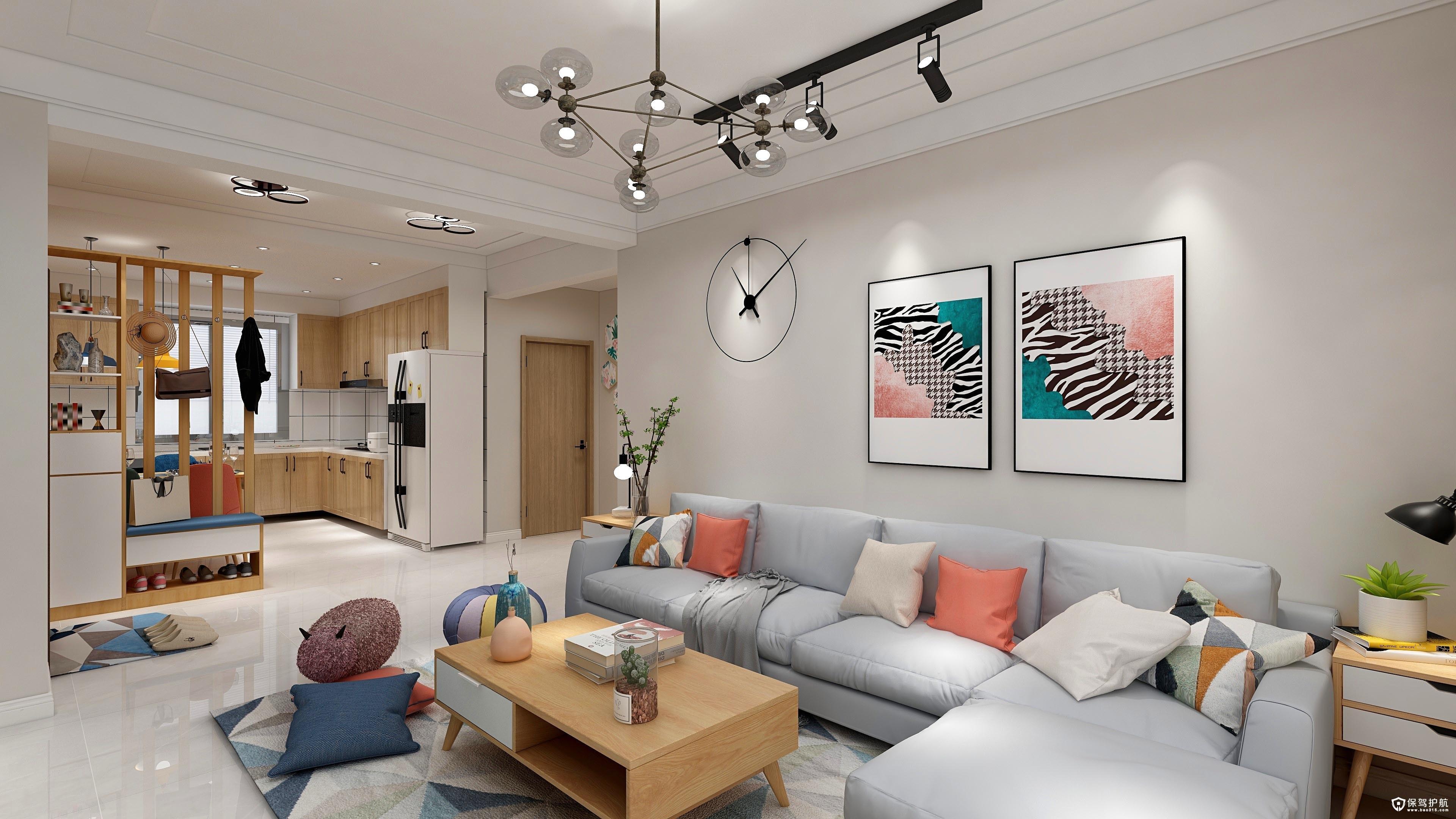 鲁商松江新城北欧风格二居室装修效果…