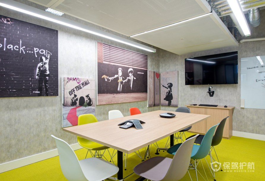 复古混搭办公会议室装修效果图