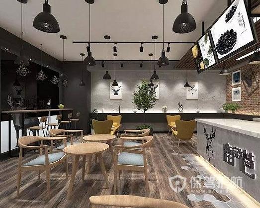 時尚田園風格奶茶店燈光設計效果圖