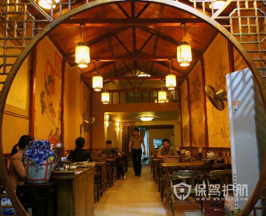 中式古典風格小吃店燈光設計效果圖