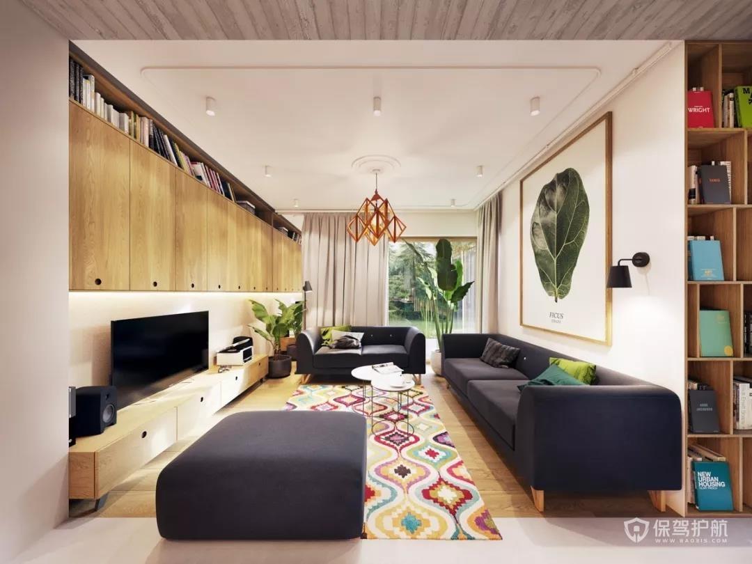 72㎡現代復式風格效果圖,金色與綠色打造現代輕奢!