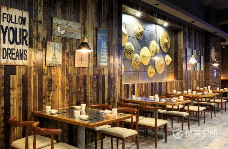 古典風格小吃店墻面創意設計效果圖