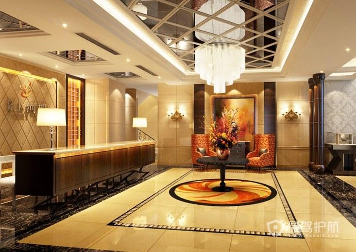 新古典文雅酒店大厅装修效果图