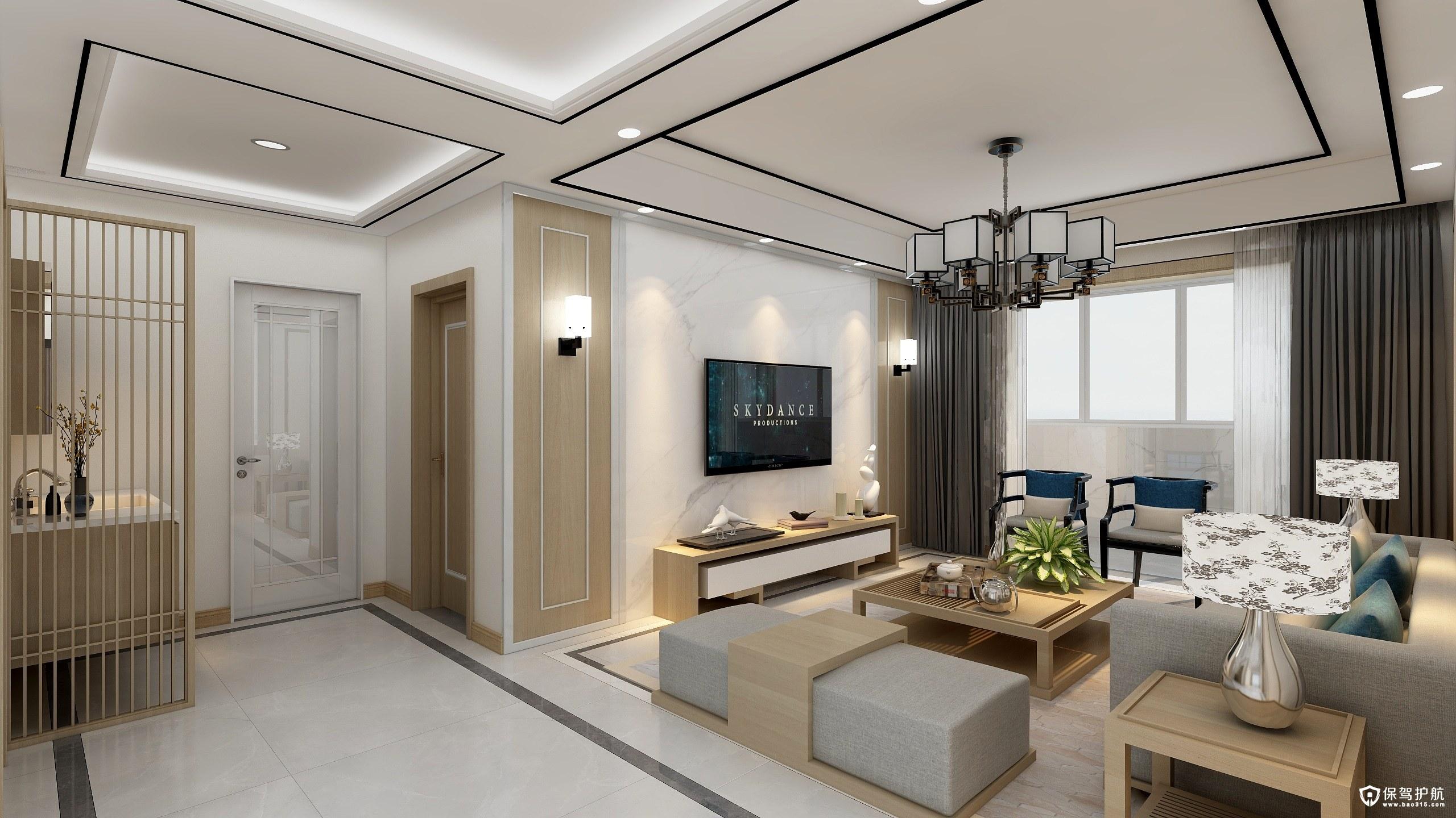 山木清华新中式风格二居室装修效果图