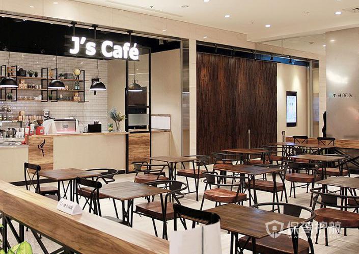 简约工业风格咖啡店桌椅设计效果图
