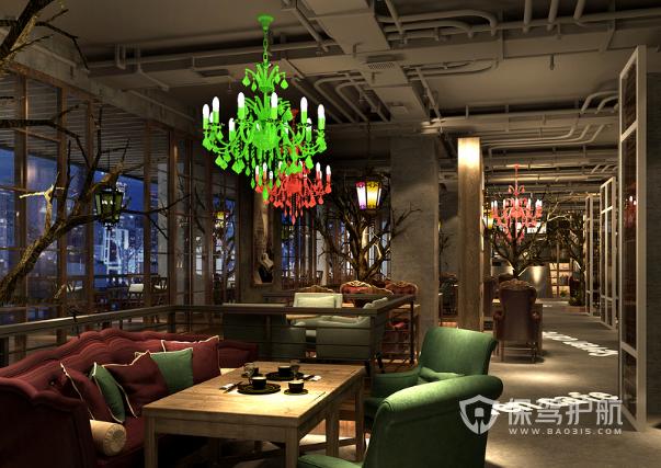 美式工业风格咖啡店吊顶装修效果图