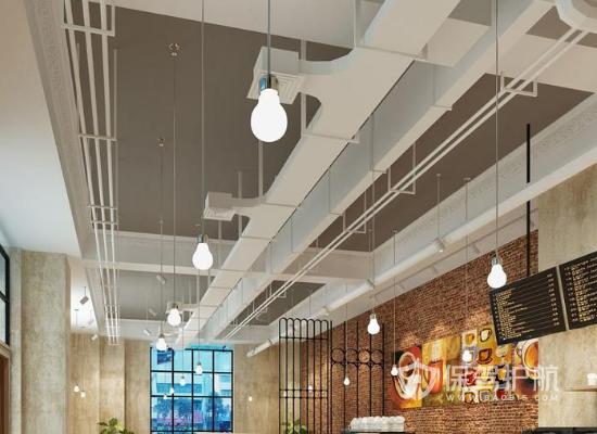 简约工业风格咖啡店吊顶装修效果图