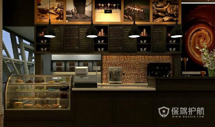简约风格咖啡店收银台装修效果图