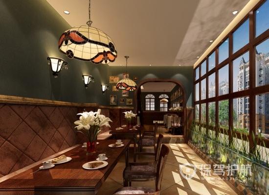 美式古典风格咖啡店灯光设计效果图