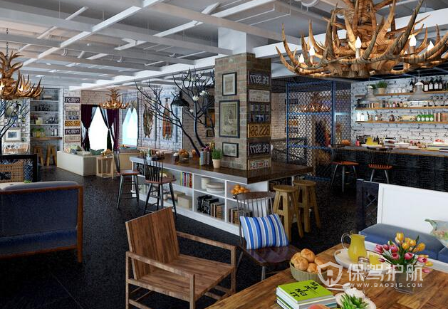 简欧风格咖啡店整体布置效果图